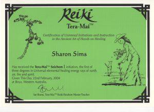 Tera Mai Reiki Seichem Certificate